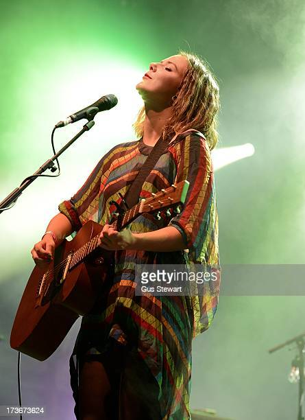 Nanna Bryndis of Of Monsters And Men performs on stage as part of the annual Summer Series of openair concerts at Somerset House on July 16 2013 in...
