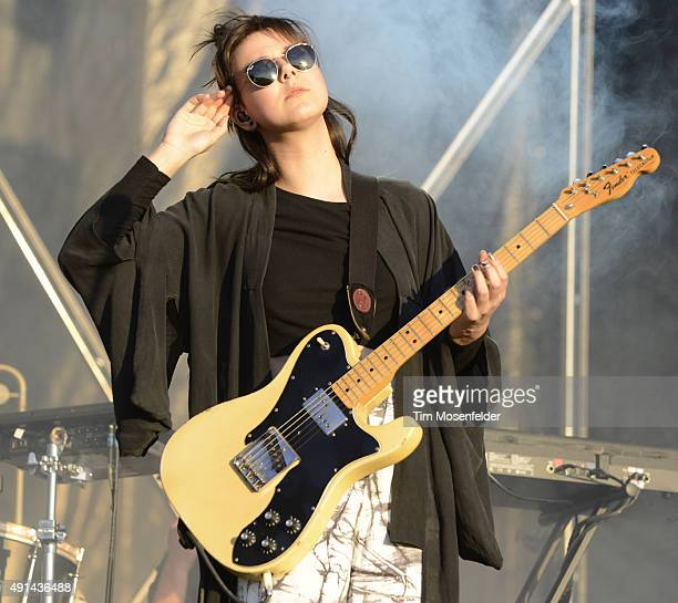 Nanna Bryndís Hilmarsdottir with Of Monsters and Men performs during the 2015 ACL Music Festival at Zilker Park on October 4 2015 in Austin Texas