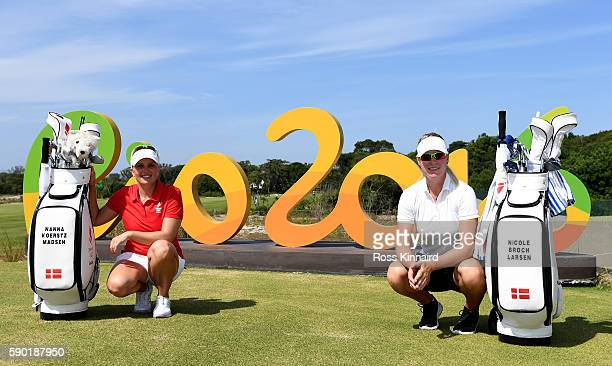Nanna Koerstz Madsen and Nicole Broch Larsen of Denmark pose with the Rio 2016 sign during a practice round prior to the Women's Individual Stroke...