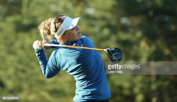 Nanna Koerstz Madsen from Denmark tees of on the first hole during round two of the LPGA Volvik Championship at Travis Pointe County Club on May 25...
