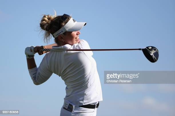 Nanna Koerstz Madsen of Denmark plays a tee shot on the 18th hole during the third round of the Bank Of Hope Founders Cup at Wildfire Golf Club on...