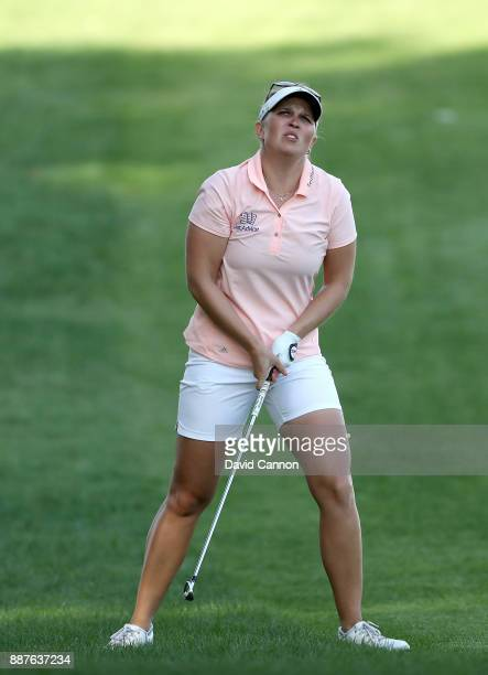 Nanna Koerstz Madsen of Denmark plays her second shot on the par 4 14th hole during the second round of the 2017 Dubai Ladies Classic on the Majlis...