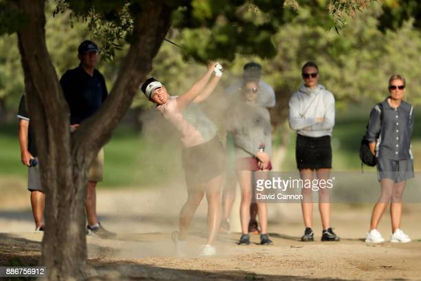 Nanna Koerstz Madsen of Denmark plays her second shot on the par 5 10th hole during the first round of the 2017 Dubai Ladies Classic on the Majlis...