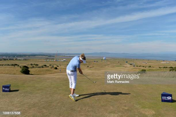 Nanna Koerstz Madsen of Denmark plays her tee shot to the 6th hole during the second day of the Aberdeen Ladies Scottish Open at Gullane Golf Course...