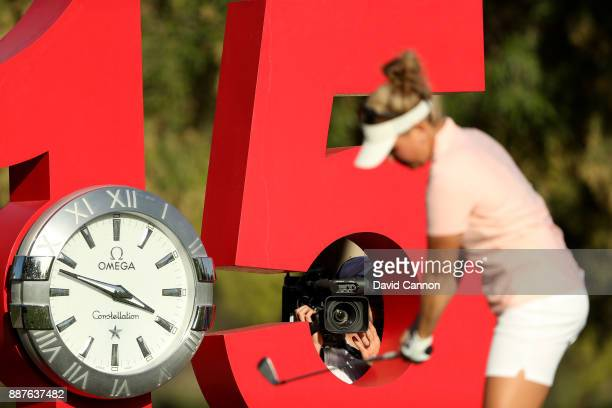 Nanna Koerstz Madsen of Denmark prepares to play her tee shot on the par 3 15th hole as the live television camera captures her preparation through...