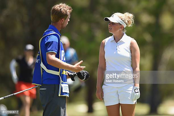 Nanna Koerstz Madsen of Denmark speaks with her caddy during day two of the RACV Ladies Masters at Royal Pines Resort on February 26 2016 on the Gold...