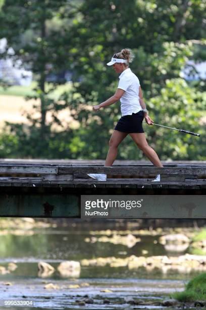 Nanna Koerstz Madsen of Denmark walks to the 2nd green during the final round of the Marathon LPGA Classic golf tournament at Highland Meadows Golf...