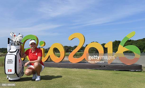Nanna Koerstz Madsen poses with the Rio 2016 sign during a practice round prior to the Women's Individual Stroke Play golf at the Olympic Golf Course...