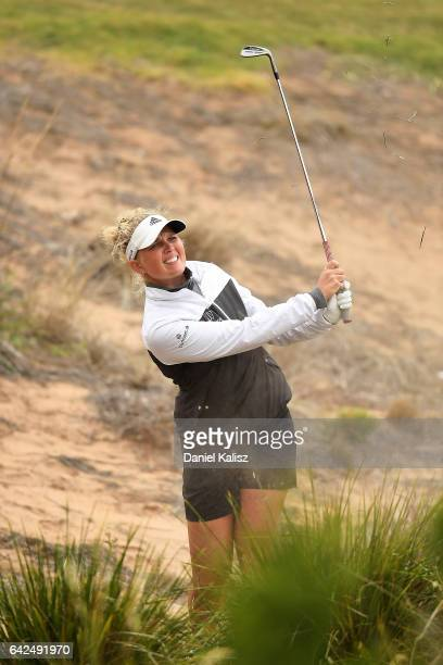 Nanna Madsen of Denmark plays a shot during round three of the ISPS Handa Women's Australian Open at Royal Adelaide Golf Club on February 18 2017 in...