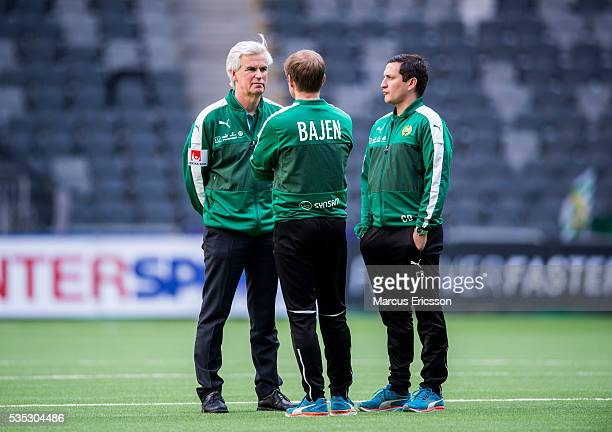 Nanne Bergstrand head coach of Hammarby IF and Carlos Banda assistant coach Hammarby IF during the Allsvenskan match between Hammarby IF and Gefle IF...