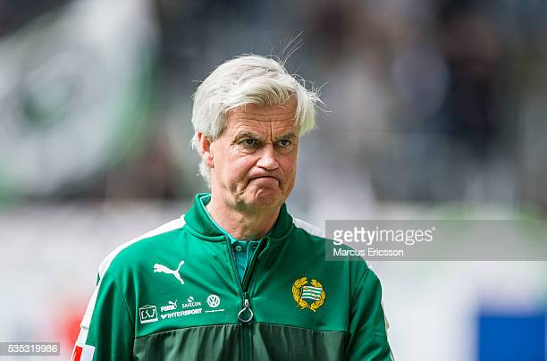 Nanne Bergstrand head coach of Hammarby IF during the Allsvenskan match between Hammarby IF and Gefle IF at Tele2 Arena on May 29 2016 in Stockholm...