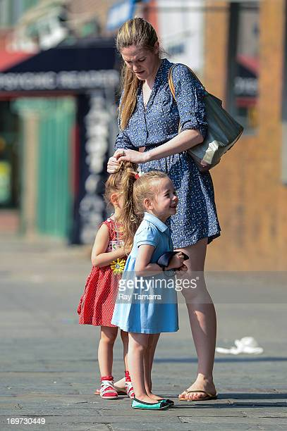 Nanny walks the children of Sarah Jessica Parker and Matthew Broderick, Tabitha Broderick and Marion Broderick, to their West Village school on May...