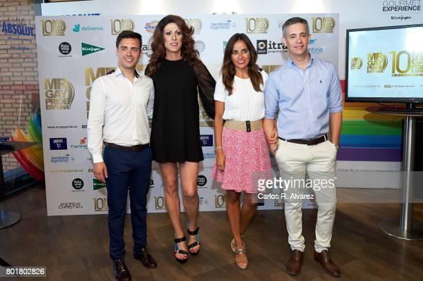 Nano Garcia Deborah Ombres Carmen Alcayde and Juan Martin Boll attend Mr Gay Pride Spain 2017 press conference at the El Corte Ingles Preciados store...