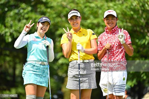 Nanoko Hayashi Mami Fukuda and Mao Nozawa of Japan pose on the 1st tee during the final round of the Earth Mondamin Cup at the Camellia Hills Country...