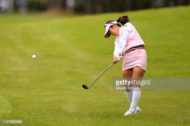 Nanoko Hayashi of Japan hits her second shot on the 1st hole during the first round of the World Ladies Championship Salonpas Cup at Ibaraki Golf...