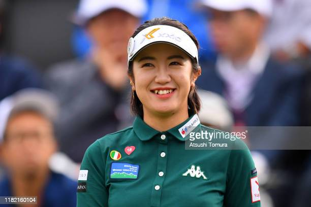 Nanoko Hayashi of Japan smiles on the 1st tee during the final round of Fujitsu Ladies at Tokyu Seven Hundred Club on October 20 2019 in Chiba Japan