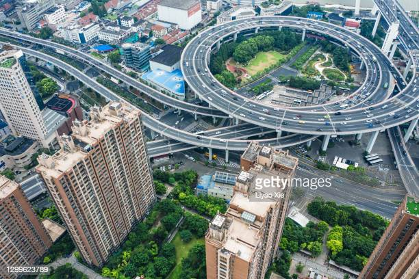 nanpu bridge aerial view - liyao xie stock pictures, royalty-free photos & images