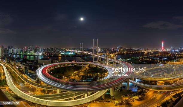Nanpu Bridge at night, Shanghai, China