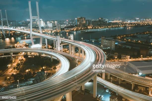 nanpu bridge - elevator bridge stockfoto's en -beelden