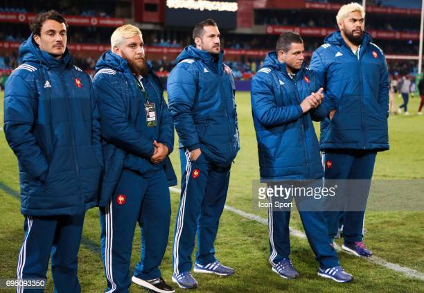 Nans Ducuing Xavier Chiocci Scott Spending Jean Marc Doussain and Romain Taofifenua of France during the international test match between South...
