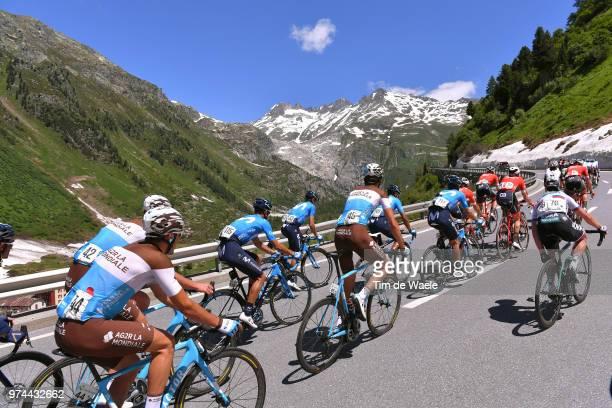 Nans Peters of France and Team AG2R La Mondiale / Ben Gastauer of Luxembourg and Team AG2R La Mondiale / Peloton / Furkapass Mountains / Landscape /...