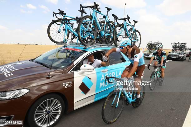 Nans Peters of France and Team AG2R La Mondiale / Julien Jurdie of France Sports director of Team AG2R La Mondiale of France / Feed Zone / Car /...