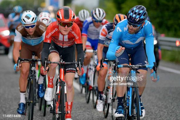 Nans Peters of France and Team AG2R La Mondiale / Sam Oomen of The Netherlands and Team Sunweb / Jose Joaquin Rojas Gil of Spain and Movistar Team /...