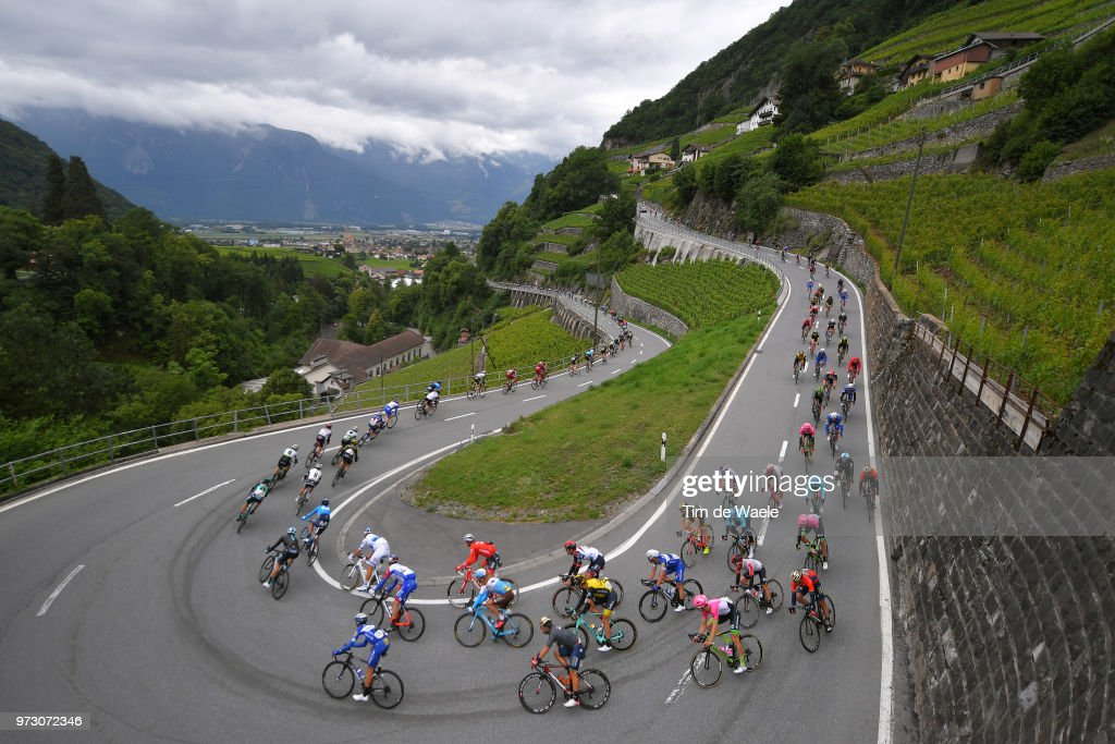 Nans Peters of France and Team AG2R La Mondiale / Sonny Colbrelli of Italy and Bahrain Merida Pro Team / Enric Mas of Spain and Team Quick-Step Floors / Maximiliano Ariel Richeze of Argentina and Team Quick-Step Floors / Col du Pillon (1546m)/ Aigle City / Landscape / Peloton / Mountains / Vineyards / during the 82nd Tour of Switzerland 2018, Stage 5 a 155,7km stage from Gstaad to Leukerbad 1385m on June 13, 2018 in Leukerbad, Switzerland.