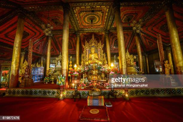 nantaram wooden temple in chiang kam, phayao province, northen of thailand - buddhist new year stock pictures, royalty-free photos & images