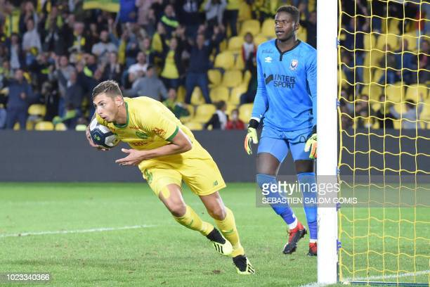 Nantes' Argentinian forward Emiliano Sala celebrates after scoring a goal during the French L1 football match between Nantes and Caen at the La...