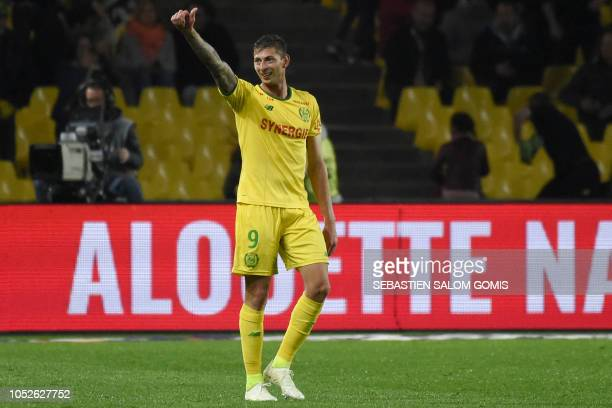 Nantes' Argentinian forward Emiliano Sala celebrates after scoring a third goal during the French L1 football match Nantes vs Toulouse at the La...