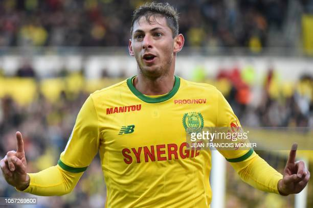 Nantes' Argentinian forward Emiliano Sala celebrates after scoring a goal during the French L1 football match between Nantes and Guingamp on November...
