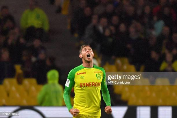 Nantes' Argentinian forward Emiliano Sala celebrates after scoring a goal during the French L1 football match Nantes versus Toulouse on November 4...