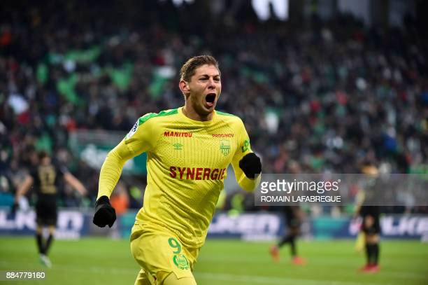 Nantes' Argentinian forward Emiliano Sala celebrates after scoring a goal during the French L1 football match between SaintEtienne and Nantes on...