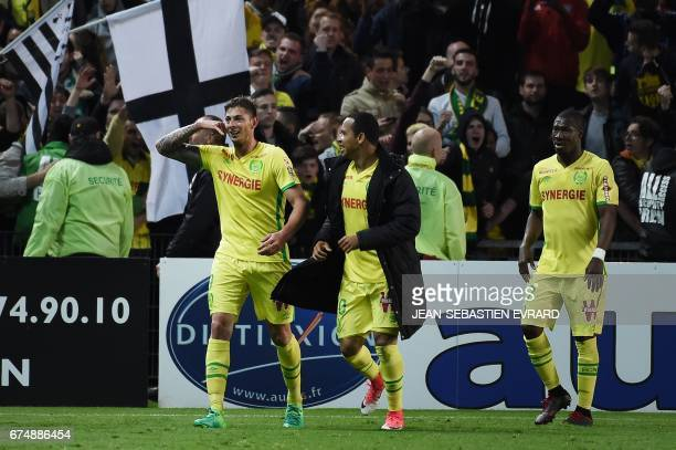 Nantes' Argentinian forward Emiliano Sala celebrates after scoring during the French L1 football match Nantes vs Lorient on April 29, 2017 at the...