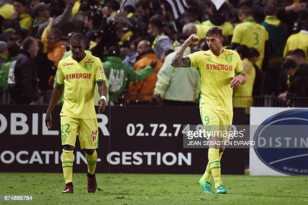 Nantes' Argentinian forward Emiliano Sala celebrates after scoring during the French L1 football match between Nantes and Lorient on April 29 2017 at...