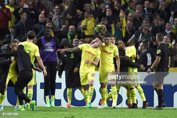 Nantes' Argentinian forward Emiliano Sala celebrates after scoring during the French L1 football match between Nantes and Lorient on April 29, 2017...