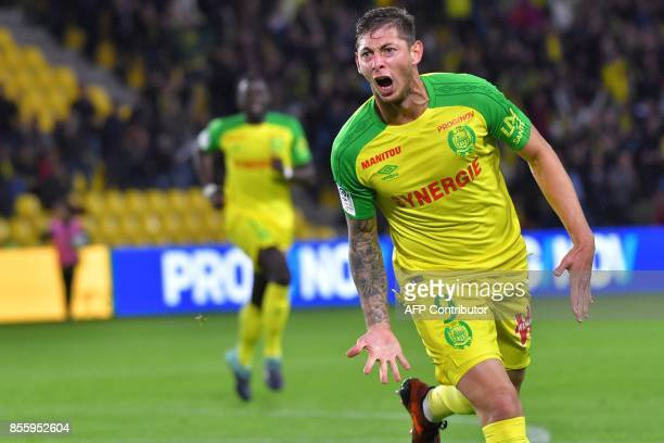 Nantes' Argentinian forward Emiliano Sala celebrates after scoring during the French L1 football match Nantes vs Metz at the La Beaujoire stadium in...
