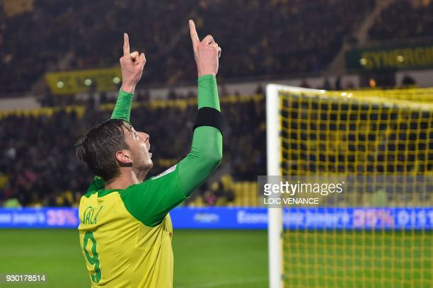 Nantes' Argentinian forward Emiliano Sala celebrates after scoring during the French L1 football match between Nantes and Troyes at The La Beaujoire...