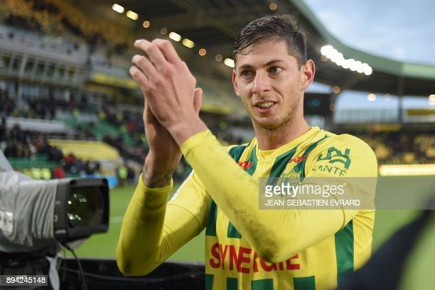 Nantes' Argentinian forward Emiliano Sala celebrates after winning the French L1 football match between Nantes and Angers at Beaujoire Stadium in...