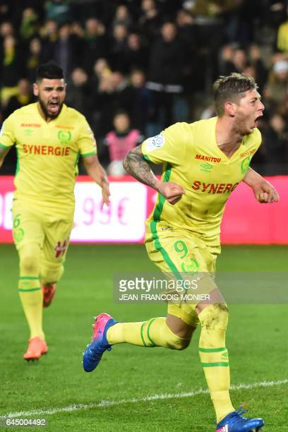 Nantes' Argentinian forward Emiliano Sala celebrates celebrates after scoring a penalty during the French L1 football match between Nantes and Dijon...