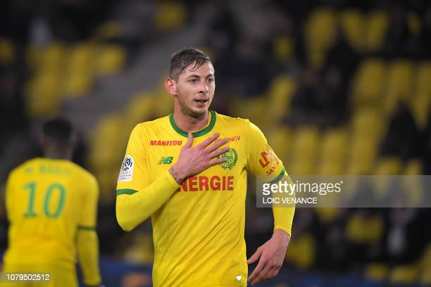Nantes' Argentinian forward Emiliano Sala gestures during the French L1 football match Nantes vs Montpellier at the La Beaujoire stadium in Nantes...