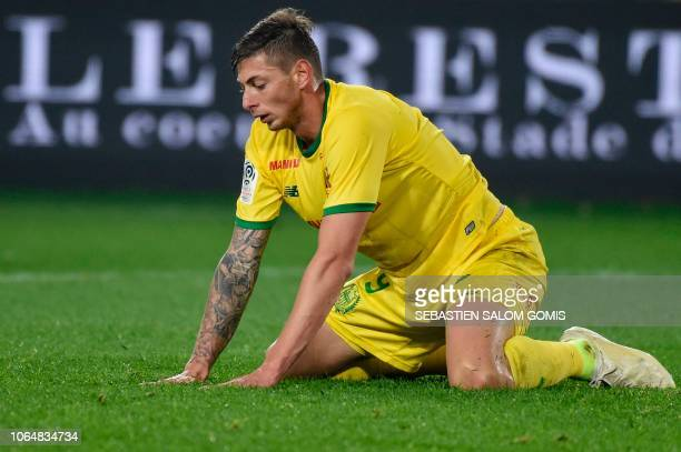 Nantes' Argentinian forward Emiliano Sala is pictured during the French Ligue 1 football match between Nantes and Angers at the La Beaujoire stadium...