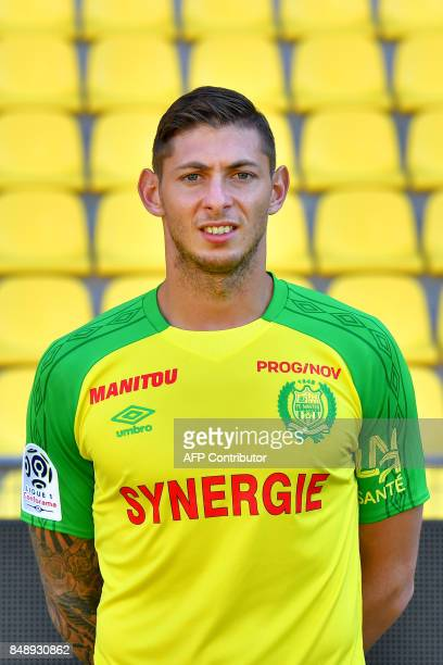 Nantes' Argentinian forward Emiliano Sala poses during the official presentation of the team on September 18 2017 in Nantes western France / AFP...