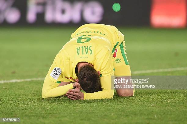 Nantes' Argentinian forward Emiliano Sala reacts after the French L1 football match between Nantes and Lyon on November 30 2016 at the Beaujoire...
