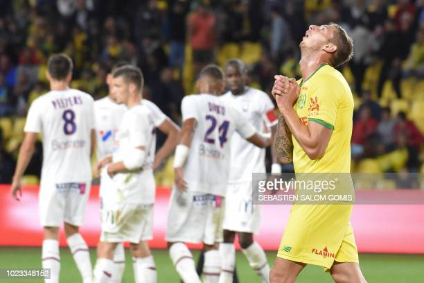 Nantes' Argentinian forward Emiliano Sala reacts during the French L1 football match between Nantes and Caen at the La Beaujoire stadium in Nantes,...