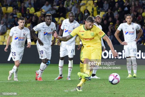 Nantes' Argentinian forward Emiliano Sala shoots and scores a goal during the French L1 football match between Nantes and Caen at the La Beaujoire...
