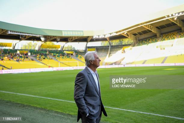 Nantes' Bosnian head coach Vahid Halilhodzic looks on before coaching his last game for FC Nantes, on August 2, 2019 at the Beaujoire Stadium in...