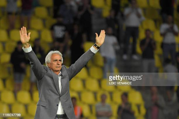 Nantes' Bosnian head coach Vahid Halilhodzic waves to the public after his last match in Nantes following the international friendly football match...