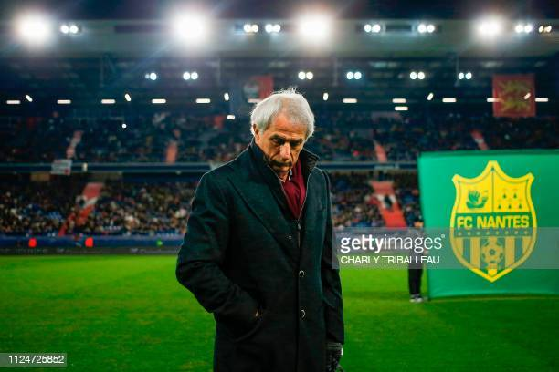 Nantes' Bosnian headcoach Vahid Halilhodzic stands prior to the French L1 football match between Caen and Nantes on February 13 at the Michel...